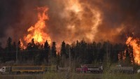 Wildfire is worsening along highway 63 Fort McMurray, Alberta Canada May 3, 2016. Photo courtesy CBC News/Handout via Reuters