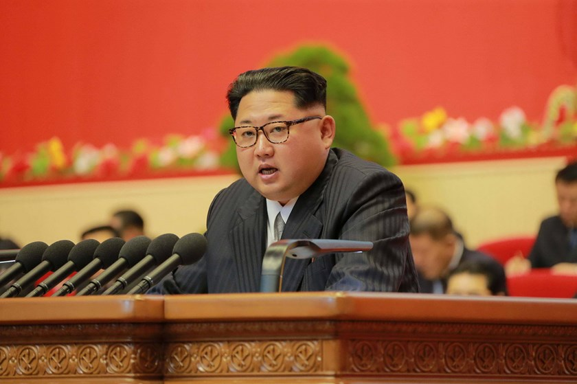 This photo taken on May 7, 2016 and released on May 8 by North Korea's official Korean Central News Agency (KCNA) shows North Korean leader Kim Jong-Un reporting works of North Korean Workers Party Central Committee during the second-day of the 7th Workers Party Congress at the 'April 25 Palace' in Pyongyang. Photo: AFP / KCNA
