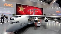 A model of Y-20 military transporter aircraft is displayed at Aviation Industry Corporation of China (AVIC)'s booth at the Aviation Expo China 2015, in Beijing, China, September 16, 2015. Photo: Reuters/Jason Lee/File Photo