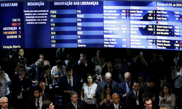 The voting panel after a session shows the results, in favor of the impeachment of President Dilma Rousseff for breaking budget laws in Brasilia, Brazil, May 12, 2016. Photo: Reuters/Ueslei Marcelino
