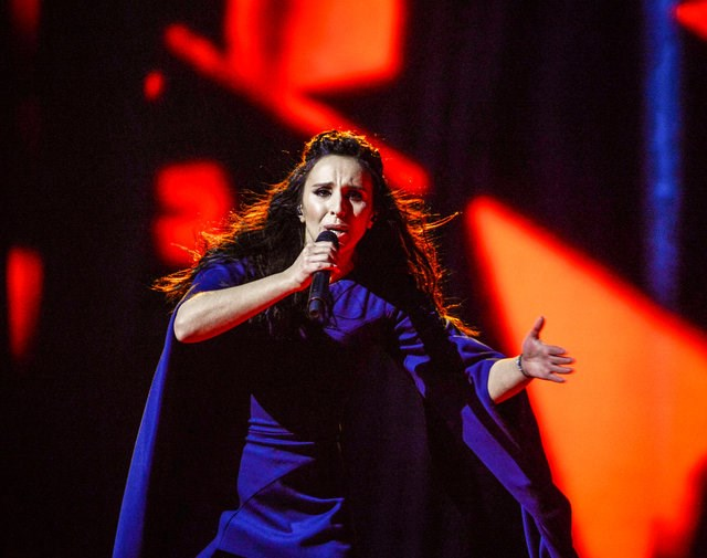 "Ukraine's Jamala performs her winning song ""1944"" during the Eurovision Song Contest final at the Ericsson Globe Arena in Stockholm, Sweden, May 14, 2016. Photo: TT News Agency/Maja Suslin/via REUTERS"