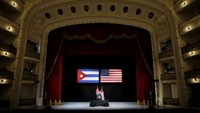 U.S. President Barack Obama delivers a speech to the Cuban people in the Gran Teatro de la Habana Alicia Alonso in Havana, March 22, 2016. Photo: Reuters/Carlos Barria