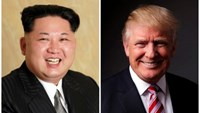 A combination photo shows a Korean Central News Agency (KCNA) handout of North Korean leader Kim Jong Un released on May 10, 2016, and Republican U.S. presidential candidate Donald Trump posing for a photo after an interview with Reuters in his office in Trump Tower, in the Manhattan borough of New York City, U.S., May 17, 2016. REUTERS/KCNA handout via Reuters/File