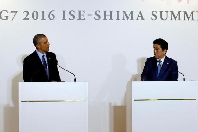 U.S. President Barack Obama attends a press conference with Japan's Prime Minister Shinzo Abe after a bilateral meeting during the 2016 Ise-Shima G7 Summit in Shima, Japan May 25, 2016. Photo: REUTERS/CARLOS BARRIA