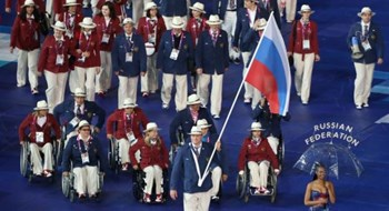 Russian athletes participate in the opening ceremony of the London 2012 Paralympic Games in the Olympic Stadium August 29, 2012. Photo: Reuters/Olivia Harris
