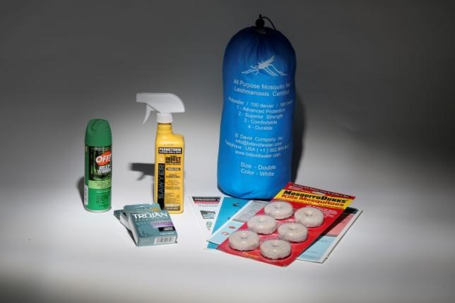 An anti Zika virus kit, including a bug net, mosquito repellent, condoms, literature and anti mosquito dunks, is pictured in this April 29, 2016 photo illustration. Photo: Reuters/Carlo Allegr