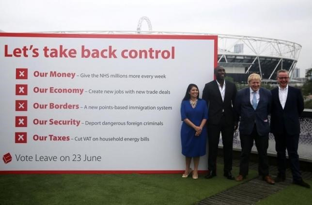 (L-R) Priti Patel MP, former footballer Sol Campbell, MP Boris Johnson MP and Michael Gove MP pose for photographers at a Vote Leave rally in London, Britain, June 4, 2016. Photo: Reuters/Neil Hall