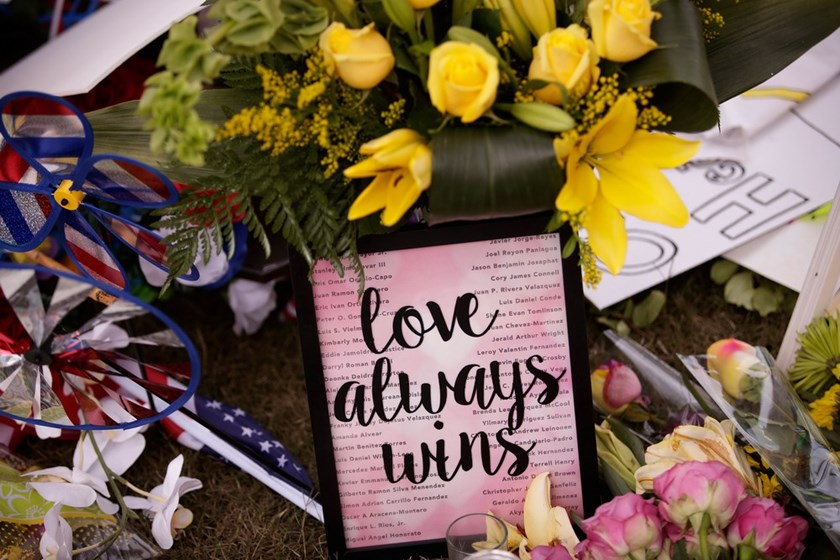 A makeshift memorial for the victims of the Pulse Nightclub shooting, June 15, 2016 in Orlando, Florida. The shooting at Pulse Nightclub, which killed 49 people and injured 53, is the worst mass shooting in American history. Photo: Drew Angerer/Getty Images/AFP