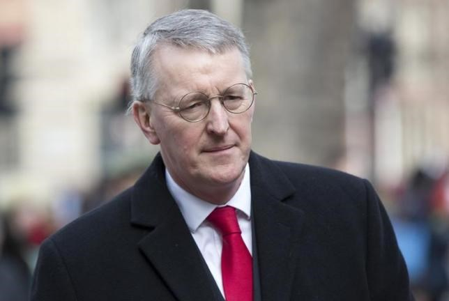 Hilary Benn arrives at the funeral of his father, the veteran British Labour politician Tony Benn, at St Margaret's Church, Westminster Abbey in London March 27, 2014. Photo: Reuters/Neil Hall