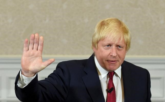 Vote Leave campaign leader, Boris Johnson, waves as he finishes delivering his speech in London, Britain June 30, 2016. Photo: Reuters/Toby Melville