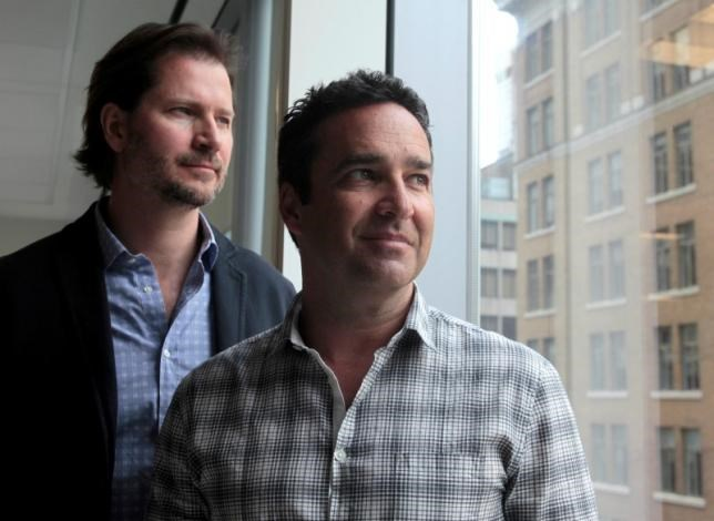 Online dating agency Ashley Madison's CEO Rob Segal (R) and president James Millership pose during an interview in Toronto, Ontario, Canada June 28, 2016. Picture taken June 28, 2016. Photo: Reuters/Chris Helgren