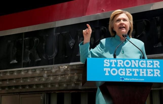U.S. Democratic presidential candidate Hillary Clinton delivers a campaign speech outside the shuttered Trump Plaza in Atlantic City, New Jersey, July 6, 2016. Photo: Reuters/Brian Snyder