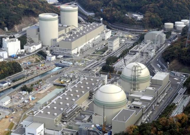 An aerial view shows No. 4 (front L), No. 3 (front R), No. 2 (rear L) and No. 1 reactor buildings at Kansai Electric Power Co.'s Takahama nuclear power plant in Takahama town, Fukui prefecture, in this photo taken by Kyodo November 27, 2014. Kyodo/File Photo via Reuters