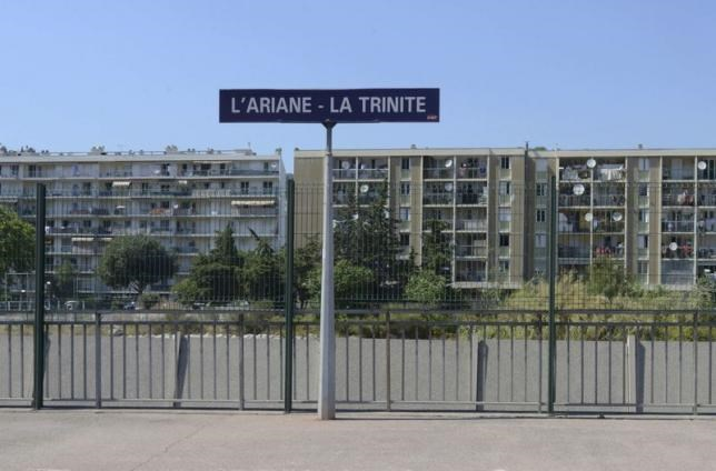 General view of apartment buildings in Ariane, a district with a big Muslim population, is seen beyond the Ariane-Trinite railay station, in Nice, France, July 18, 2016. Photo: Reuters/Jean-Pierre Amet