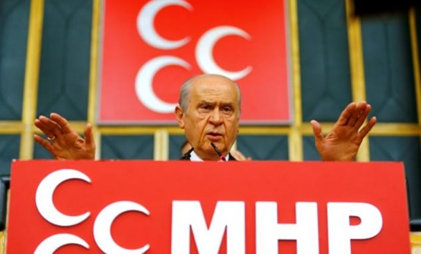 Turkey's main opposition Nationalist Movement Party (MHP) leader Devlet Bahceli addresses his party MPs during a meeting at the Turkish parliament in Ankara, Turkey July 19, 2016. Photo: Reuters/Umit Bektas
