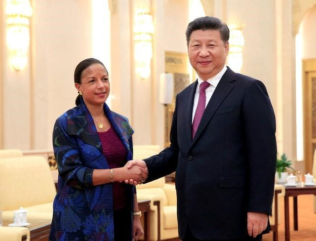 US National Security Adviser Susan Rice (L) shakes hands with Chinese President Xi Jinping during their meeting at the Great Hall of the People in Beijing, China, 25 July 2016. Photo: Reuters/How Hwee Young/Pool