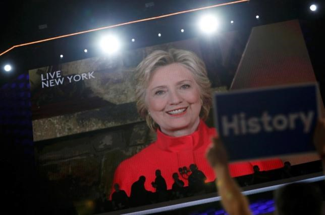 Democratic presidential nominee Hillary Clinton addresses the Democratic National Convention via a live video feed from New York during the second night at the Democratic National Convention in Philadelphia, Pennsylvania, U.S. July 26, 2016. Photo: Reuters/Mark Kauzlarich
