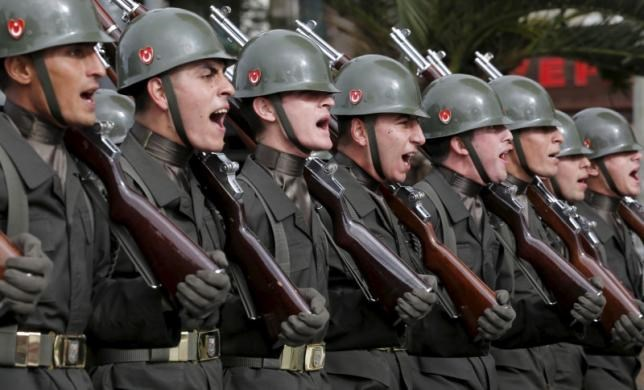 Turkish soldiers march during a Republic Day ceremony in Istanbul, Turkey, October 29, 2015. Turkey marks the 92nd anniversary of the Turkish Republic. Photo: Reuters/Murad Sezer
