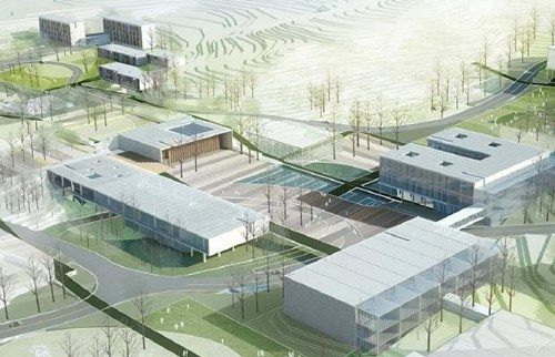 An artist's impression of the Vietnam-Korea Institute of Science and Technology at Hoa Lac Hi-Tech Park in Hanoi