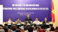 The Ministry of Foreign Affairs held a press conference on East Sea developments in Hanoi on June 16, 2014. Photo: Ngoc Thang