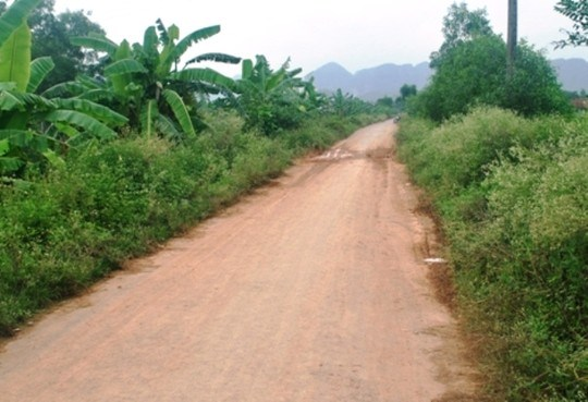 The road section where Duong Van Tue, 31, police chief of Ha Lan Commune in Bim Son Town, Thanh Hoa Province was attacked by two dog thieves on June 26. Photo credit: Nguoi Lao Dong