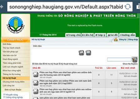 A forum on the website of the Hau Giang Province Department of Agriculture and Rural Development got hacked on February 17, 2014
