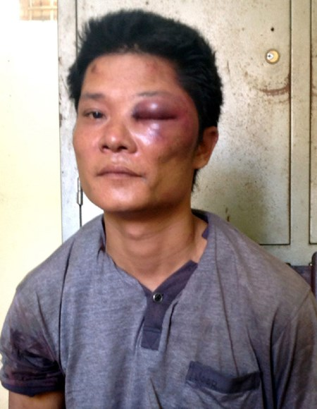 Nguyen Thanh Tuan after being arrested on Tuesday. Photo credit: Uong Bi Town's Police Department