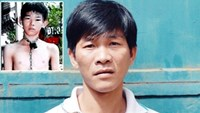 Nguyen Kim Hoang and his 13-year-old son (small photo), who was chained on the neck