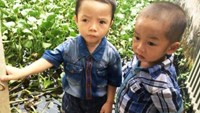 Nguyen Quoc Khanh (R), 34 months old, and his playmate Trinh Van Ba at the pond where Ba fell into. Photo credit: Dan Tri