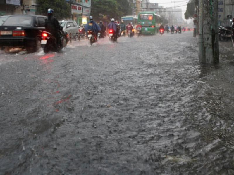 A flooded street in Ho Chi Minh City. Photo: Pham Huu