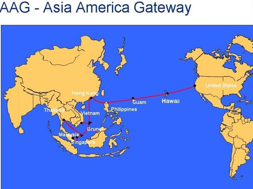 A map depicting the path of the Asia America Gateway cable system. Photo credit: AAG