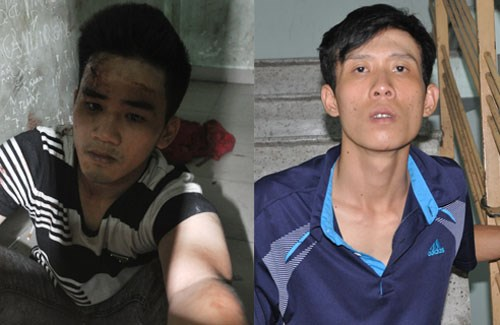 Le Hoang, 27, and Truong Thai Ngoc, 23, at a police station. Photo provided by HCMC police