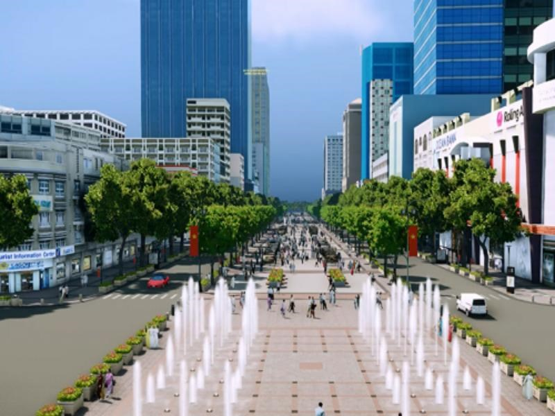 An artist's rendering of the planned upgrade to Nguyen Hue Street