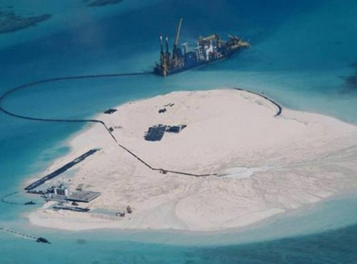 A view of Johnson South Reef in the Spratly Islands in the South China Sea. Photo credit: Reuters