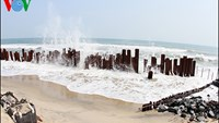 Makeshift iron poles erected to break incoming sea waves on Cua Dai Beach in Hoi An. Photo credit: VOV