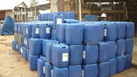 40 tons of counterfeit cyanide are being stored at a warehouse at the Bong Son Gold Mine. Photo credit: Dan Tri