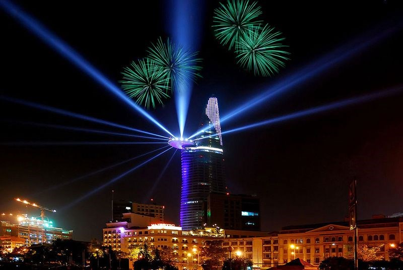 Fireworks will be displayed from the iconic Bitexco Financial Tower in HCMC's District 1 on New Year's Eve.