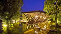 Bamboo Wing, the bamboo cantilever structure in Flamingo Dai Lai Resort. Photo provided.