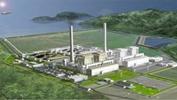 A digital rendering of the Quang Trach 2 thermal power plant.