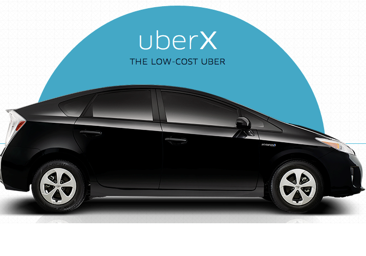uberX is a low-cost ridesharing service