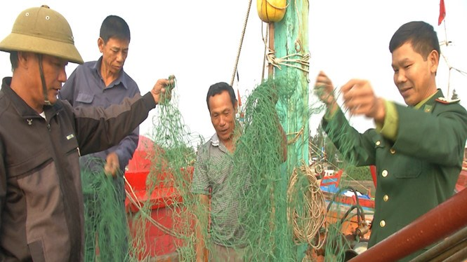 The damaged fishing nets of Quang Tri fishers. Photo: Nguyen Phuc