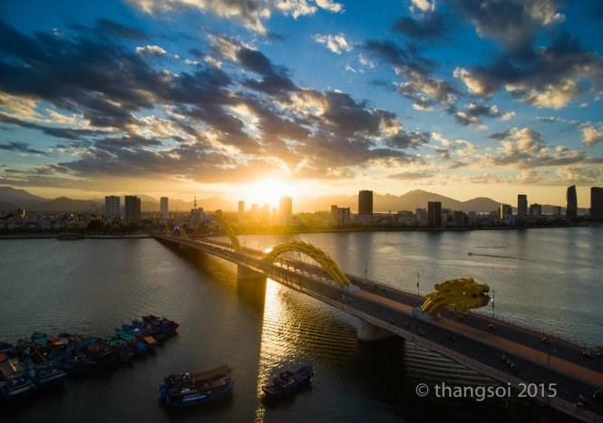 The Rong Bridge captured by a flycam. Photo: Le The Thang/Tuoi Tre