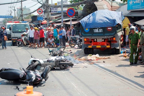 The site of the crash in Ho Chi Minh City's Go Vap District on February 17, 2016. Photo: Pham Huu