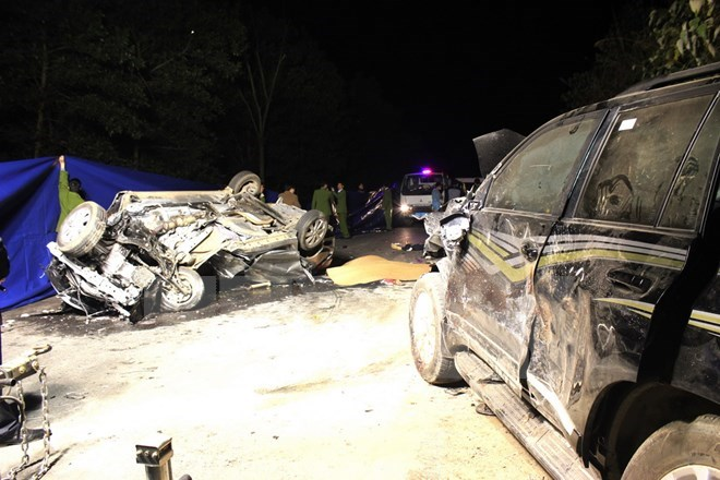 The cars that collided on National Highway 2 in Ha Giang Province on February 29, 2016. Photo credit: VNA