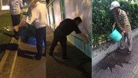 A combination photo shows people who were caught urinating on the HCMC streets are ordered to clean the spots they had urinated on with water. Photos: Dinh Nguyen