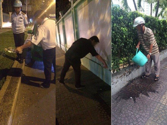 A combination photo shows people who were caught urinating on the HCMC  streets are ordered to