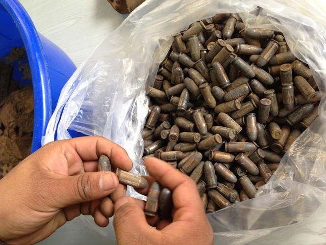 The bullets found under a Da Nang house on March 31, 2016. Photo: Nguyen Tu