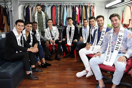 Nguyen Phuc Vinh Cuong (fourth from left, sitting) and other contestants at Mister Global 2016 in Thailand.