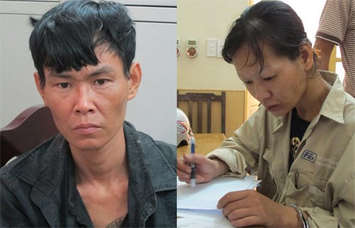 Duong Minh Nhat and his wife Tran Thi Hong Van who were sentenced to 12 and four years in jail June 3 for making and storing weapons illegally. Photo credit: VietNamNet