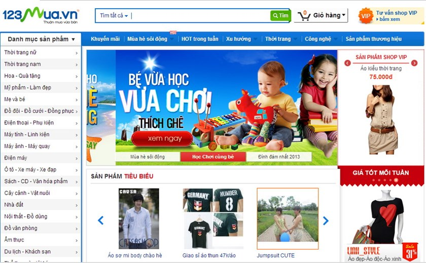 The homepage of Vietnam's leading shopping site 123mua, which was acquired by top Internet service company FPT July 9, 2014